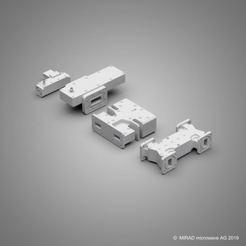Ka-band multihole coupler, X-band cross-guide coupler, Ku-band hybrid coupler, Ku-band branchline coupler